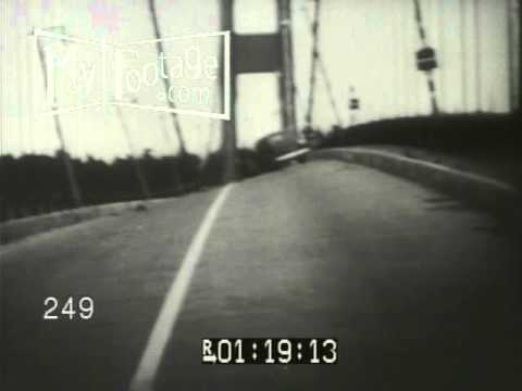 Stock Footage - 1940 HISTORY: GALLOPING GERTIE BRIDGE WOBBLES, COLLAPSES