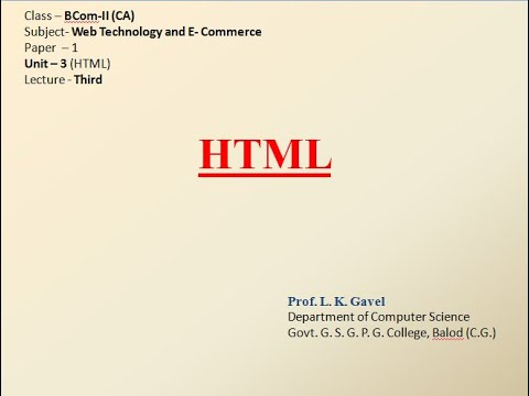 HTML Lecture-3 For BCom-II(CA)