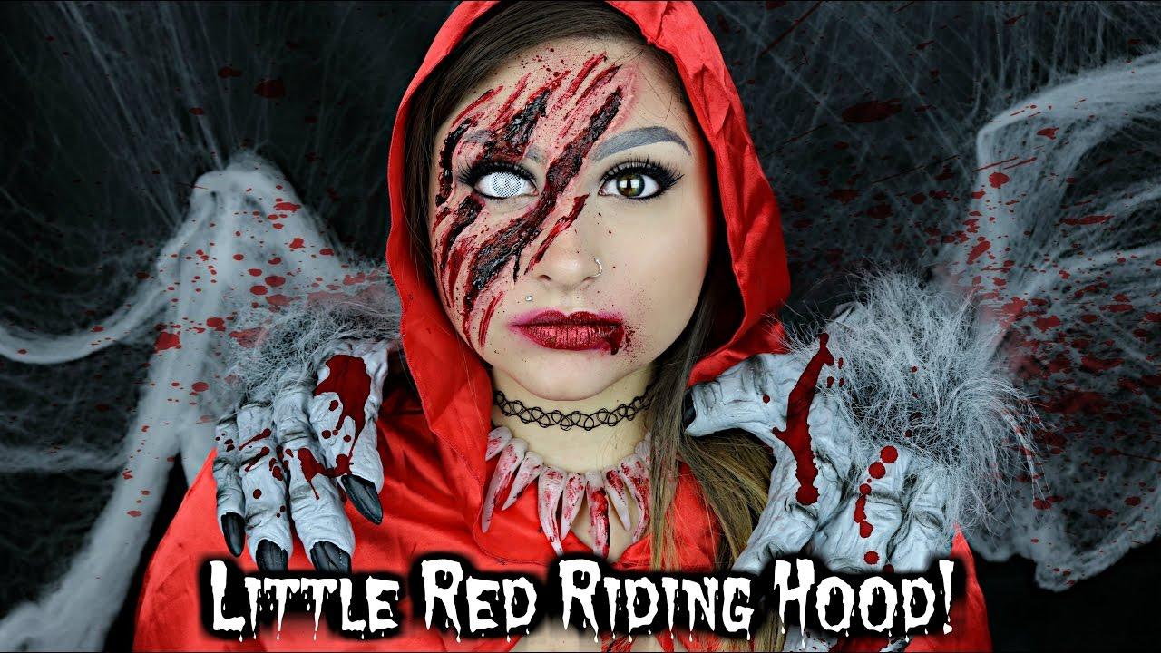 Little Red Riding Hood Wolf Hunter Halloween Makeup Tutorial ...