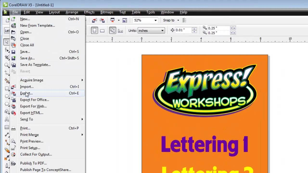 How To Create A Coreldraw File And Export It To Photoshop As Layers