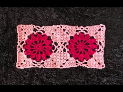 How to Crochet and Join Square Flower Motifs Pattern #665│by ThePatternFamily