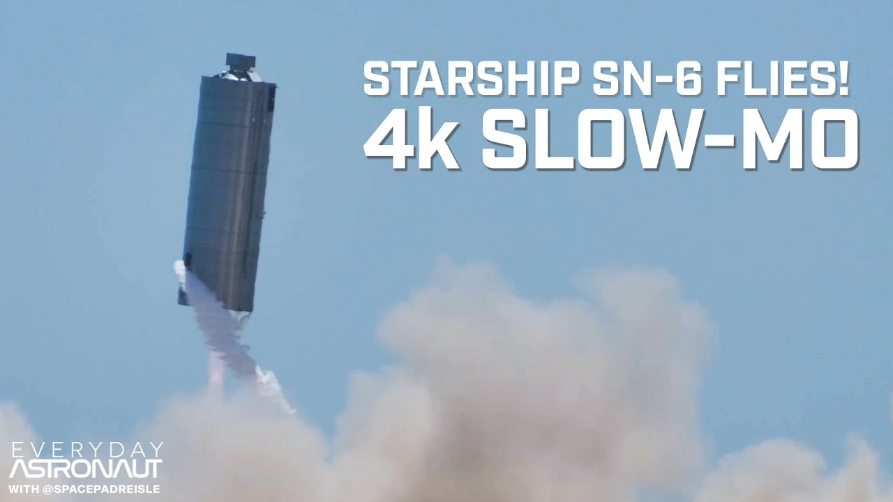 SpaceX Starship SN-6 Hop in 4k Slow Motion!