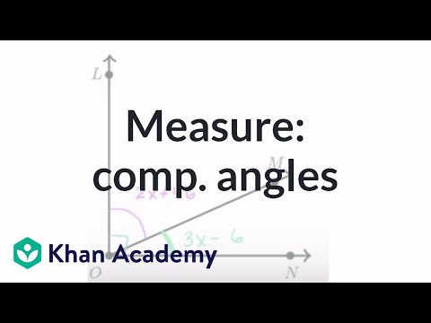 Find measure of complementary angles | Angles and intersecting lines | Geometry | Khan Academy