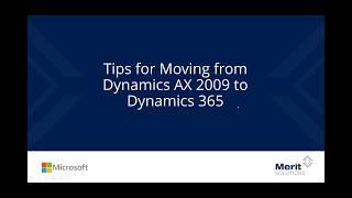 نصائح الانتقال من Microsoft Dynamics AX 2009 إلى ديناميات 365