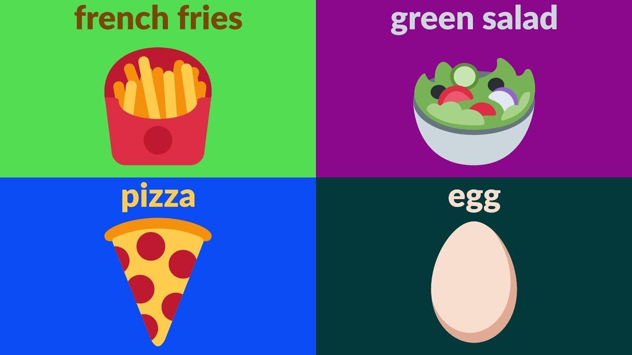 FOOD VOCABULARY for Beginners, Kids, Kindergarten - Learn ...