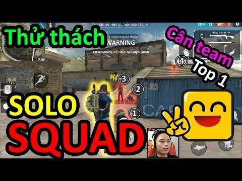 Thử thách top 1 Solo Squar cân team là có thật ###Free Fire Bình Luận###
