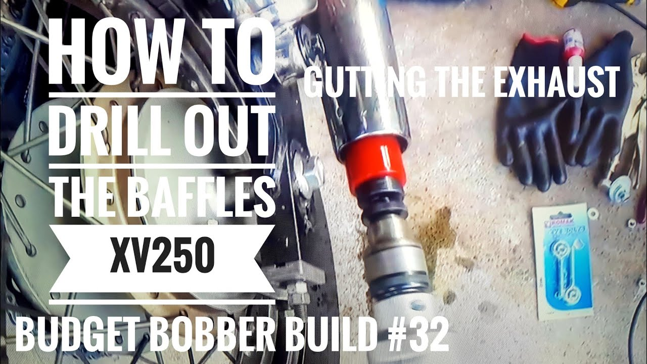 Budget Bobber Build #32   How to drill out baffles & gut the exhaust    Build Lollipops Virago XV250
