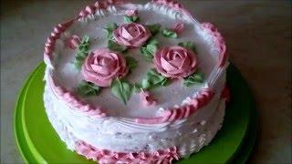 Украшение тортов кремом Торт рецепт Бисквитный торт с вишнёвой прослойкой и сливками