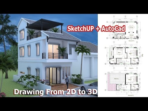 House Drawing From 2D to 3D Using Sketchup + Autocad Step by Step. Home Plan 5.6x8m