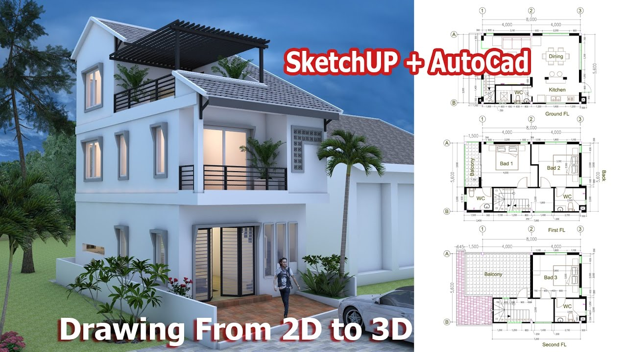 House drawing from 2d to 3d using sketchup autocad step for Minimalist house sketchup