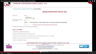 KEA, CET Option Entry Procedure for Engg, Medical, PGCET, Lateral Entry Students