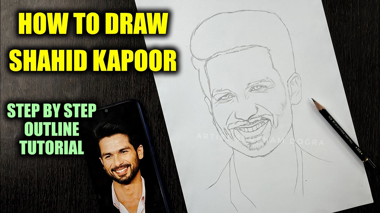 How to draw Shahid Kapoor Step by Step // full sketch outline tutorial for beginners