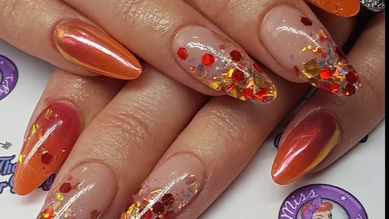 Autumn crackle Acrylic Nails - Ombre - Pigment - Glitter Embedding ...