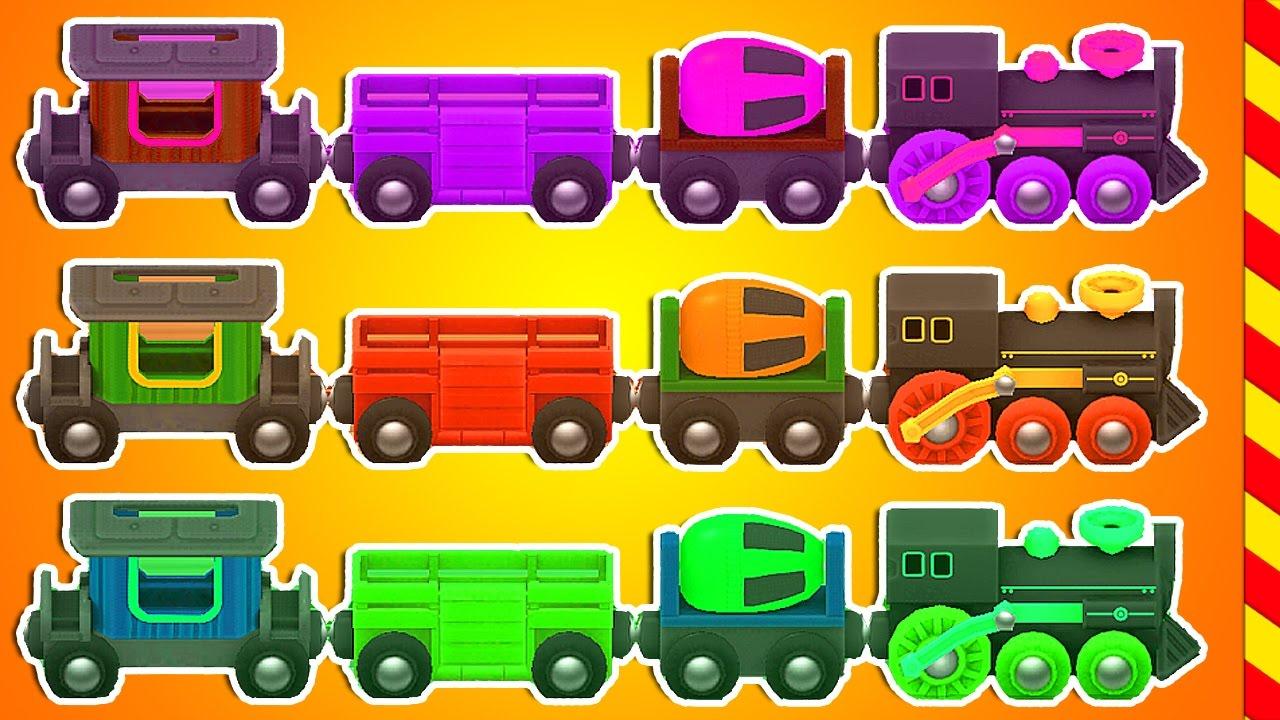 Приключения разноцветных поездов -  мультик игра. Игры для мальчиков про паровозы и поезда