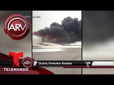 Pánico en Dubai, un avión se incendia en aterrizaje | Al Rojo Vivo | Telemundo
