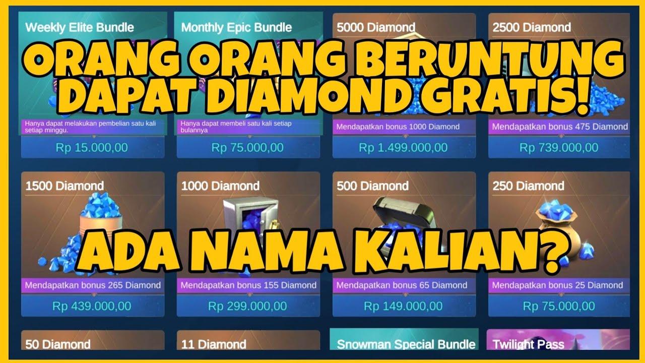 ORANG-ORANG BERUNTUNG INI DAPAT DIAMOND GRATIS! ADA NAMA KALIAN? - Mobile Legends