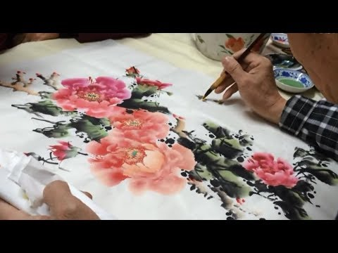 Class painting Peony painting - second lesson