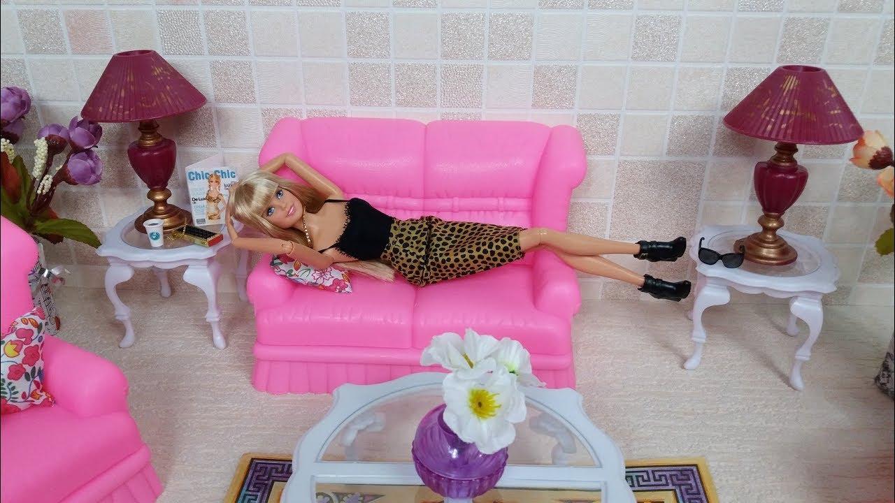 Barbie unboxing fancy life living room set sala de estar for Sala de estar barbie