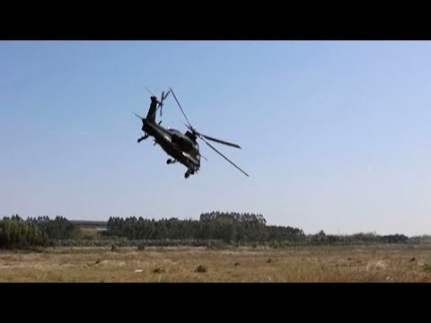 Chinese army conducts tactical drill using attack helicopters