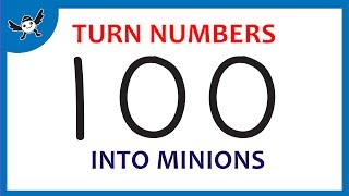 """How To Turn Numbers """"100"""" into Cartoons MINIONS – Learn Drawing Art on Paper for Kids ✔"""