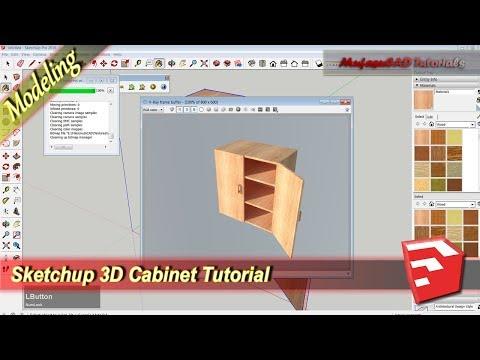 Sketchup 3D Modeling Cabinet Design Tutorial Practice Exercise 1