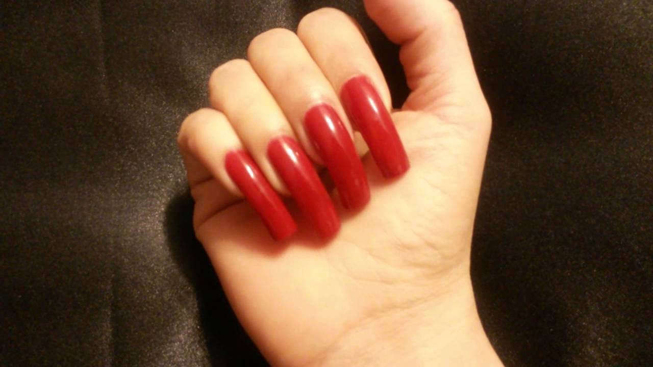 My Long Natural Nails in Red - YouTube