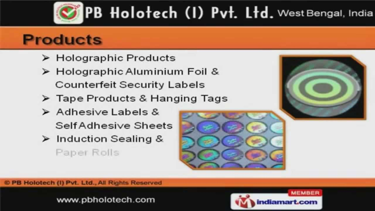Holograms labels by pb holotech india private limited kolkata