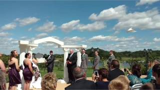Mr and Mrs Smith Wedding with White doves