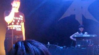 20110917 - Atari Teenage Riot @ 930 Club - band intro, loud audience member (50s) (distorted snd)
