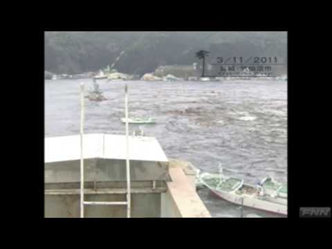 Time lapse of tsunami at Kesennuma port, Miyagi Prefecture, Japan