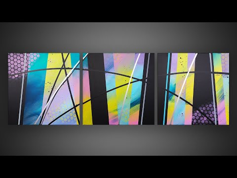 Easy Abstract Painting With Masking Tape Fun Satisfying Habia Youtube