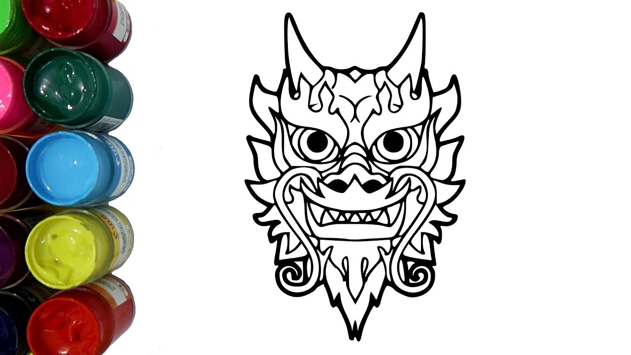 Belajar Mewarnai Barongsai Naga Dengan Cat Air Coloring Pages