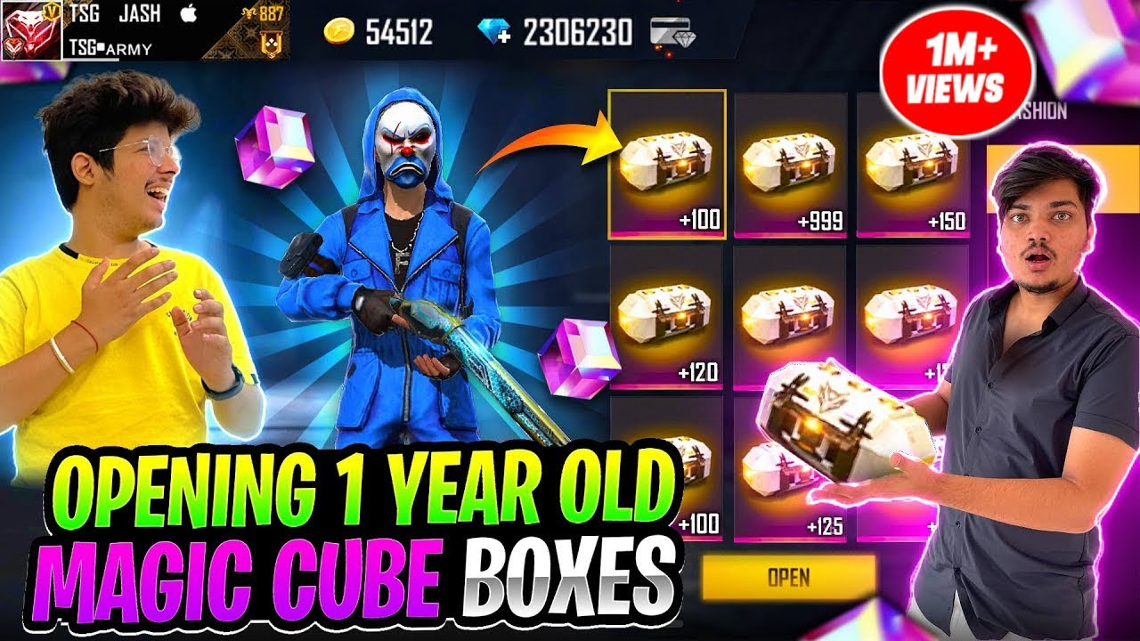 Opening 1 Year Old Magic Cube Boxes Of All TSG Members 😱| 1 Magic Cube = 10000₹ -Garena Free Fire