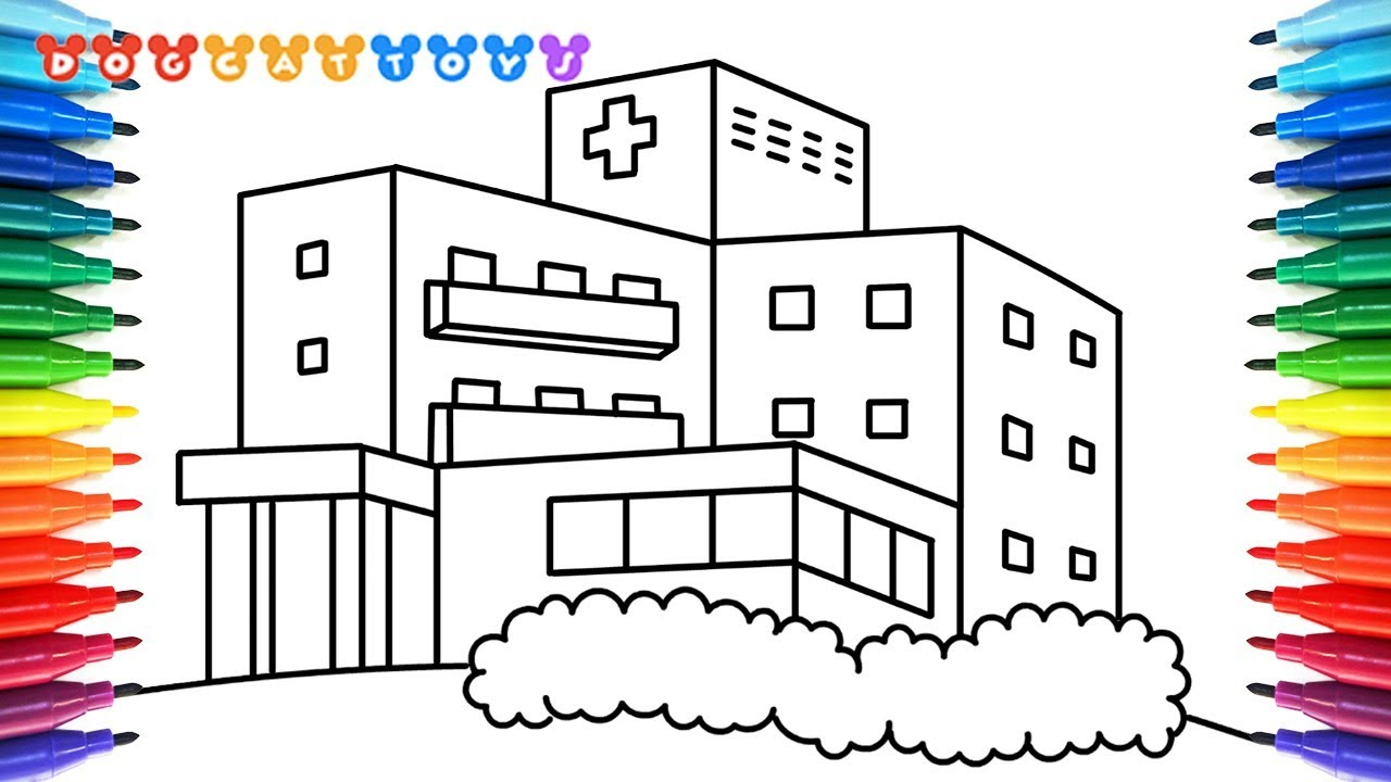 How to Draw A Hospital Coloring Pages | Drawing, Coloring & Art for ...
