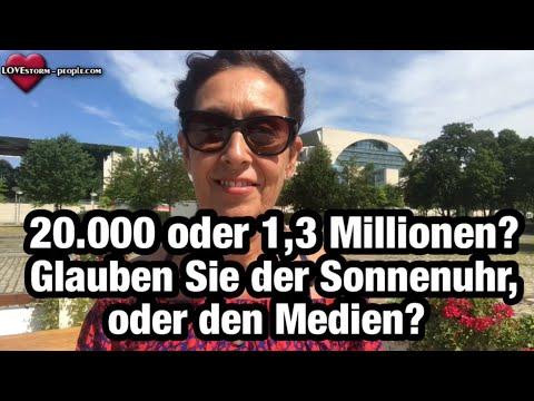 20.000 oder 1,3 Millionen? Glauben Sie der Sonnenuhr, oder den Medien? #Corona #Demo #Berlin