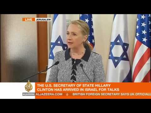 US Secretary of State Hillary Clinton meets Israeli PM Netanyahu for a press conference in Jerusalem