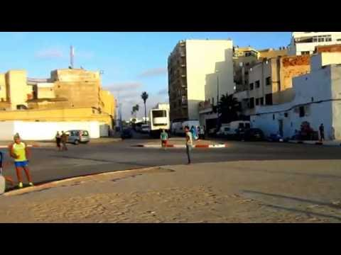 Kids Playing Football on Streets of Casablanca Morocco