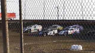 Tony Stewart, Kenny Wallace & Ken Schrader Modified Heat Race @ Macon Speedway 2013