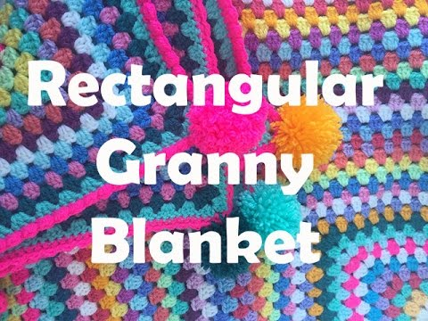 Rectangle Granny Stripe Blanket With Pompoms Youtube
