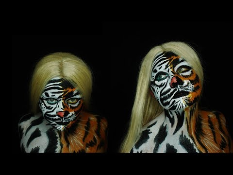 Two Tiger's  Makeup Tutorial! 31 DAYS OF HALLOWEEN  Nicole Chanetll