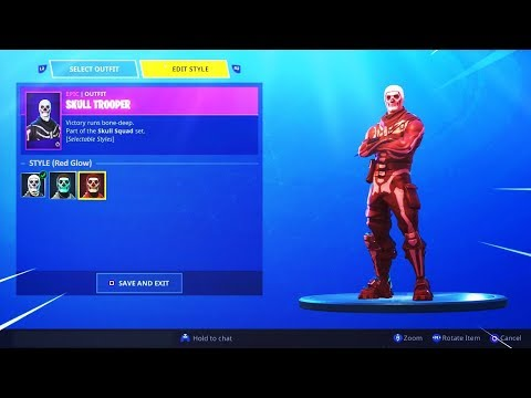 RED SKULL TROOPER GAMEPLAY! RED GLOW STYLE - Fortnite NEW Skull Trooper Style!