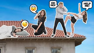 LAST TO LEAVE ROOF WINS $10,000 W/ My GIRLFRIEND **OVERNIGHT CHALLENGE**🏠| Lev Cameron
