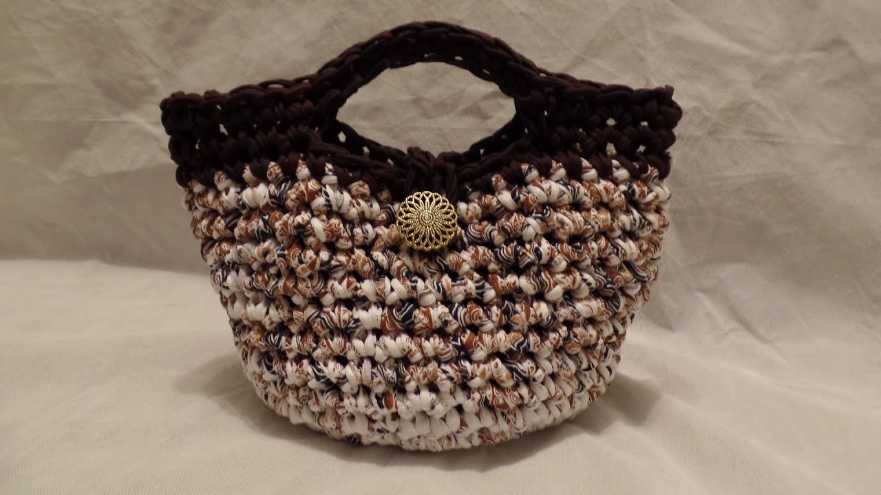 How To Make Crochet Purse : CROCHET How To Crochet T- Shirt Yarn #Crochet Purse Handbag #TUTORIAL ...