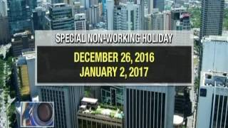 Malacañang declares December 26 and January 2 as special non-working holidays