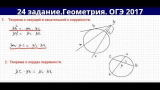 Теоремы о хордах, касательной и секущей окружности