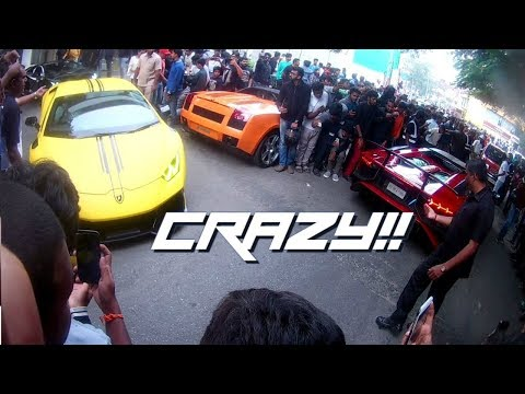 LAMBORGHINI GIRO EVENT   CRAZY CROWD REACTIONS   SUPERCARS IN BANGALORE