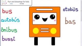 Dibujar emoticono autobus kawaii con lenguajes y cancion infantil