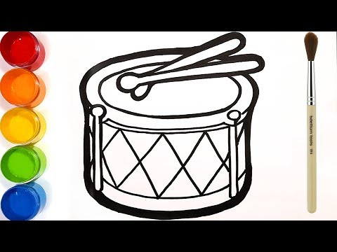 Glitter Drum coloring and drawing | Learn Colors for kids | Bonbon Toy Art