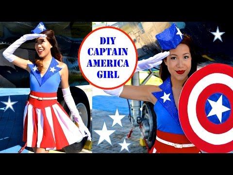 CAPTAIN AMERICA GIRL COSTUME!- USO Girl- No Sew!