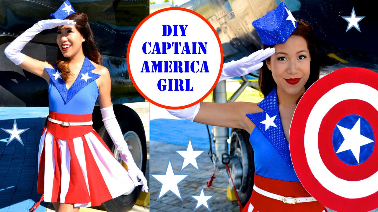 sc 1 st  YouTube & CAPTAIN AMERICA GIRL COSTUME!- USO Girl- No Sew! - YouTube